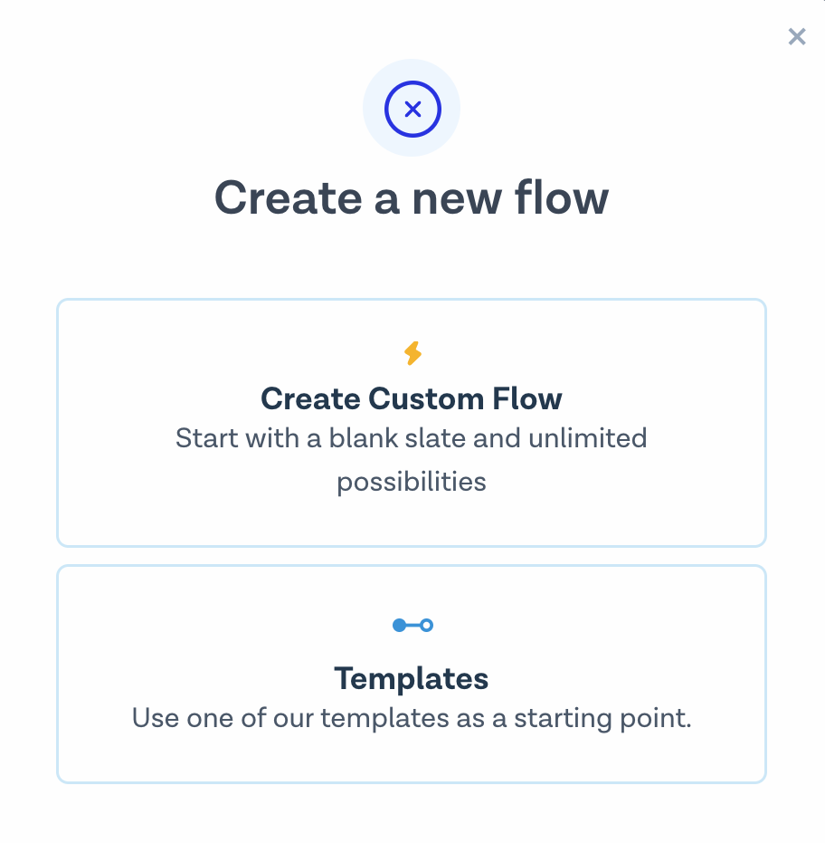 Create new flow, step 1